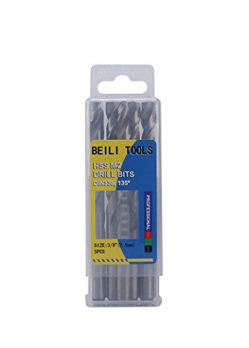 HSS M2 Metal Jobber Twist Drill Bits, Pack of 5 (3/8