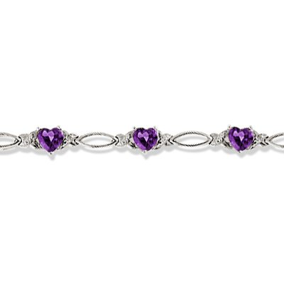 Heart Shaped Amethyst and Diamond Link Bracelet 14k White Gold (3.00ctw)