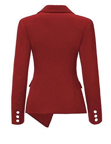 Giubotto Lunga Rot Outerwear Mode marca Donna Di Tailleur Formale Puro di Single Irregular Bavero Da Moda Colore Autunno Fit Giacca Slim Camicia Manica Breasted B0d0wg