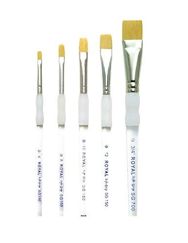 Royal Brush Soft Grip Bottom Flat Golden Taklon Fiber Paint Brush Set, Assorted Size, Set of 5 (Flat Taklon Brush)