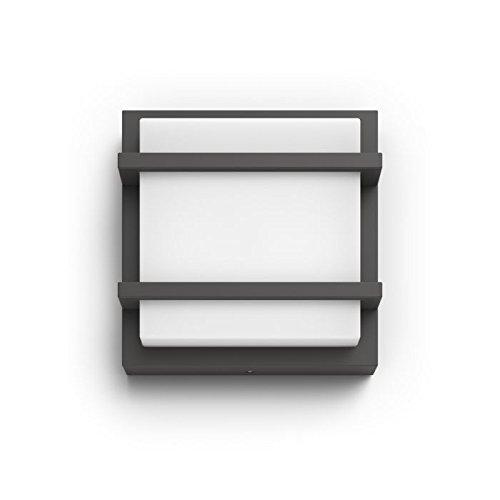 Philips MyGarden Petronia Aplique LED para Exterior Integrado, 12 W, Blanca Cálido y Antracita, 190,1 x 190,1 x 53 mm [Clase de eficiencia energética A+] 1739493P0