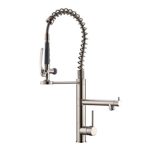 Commercial Kitchen Faucet with Pull Down Sprayer,Modern Single Handle High Arch Pre-Rinse Spring Kitchen Sink Faucet,Brushed Nickel