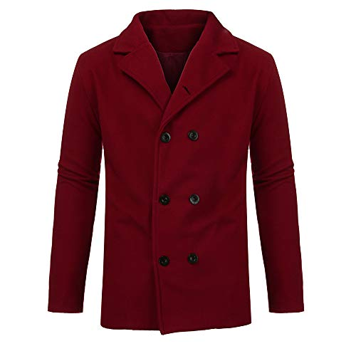 Cashmere Fixture (ANJUNIE Men's Casual Suit Jacket Warm Winter Trench Tops Long Outwear Button Smart Overcoat(Red,XL))