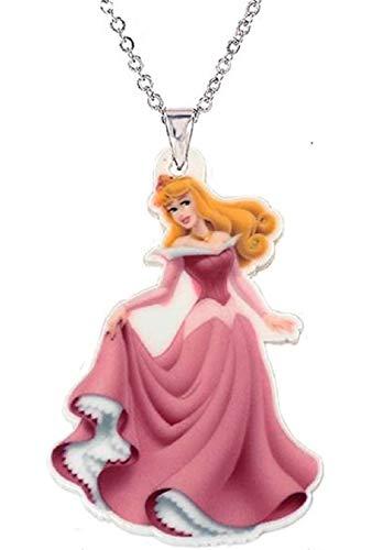 La Belle Au Bois Dormant Disney Princesse De Dessin Animé Pendentif Collier Princesse De Bande Dessinée Bijoux Collier Enfant Filles Cadeau Couleur