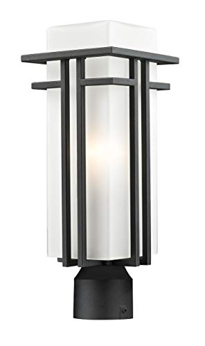 Z-Lite 549PHM-BK-R Outdoor Post Light with Glass and Black Metal Finish, Matte Opal