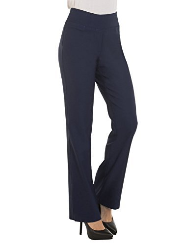 (Red Hanger Bootcut Dress Pants for Women -Stretch Comfy Work Pull on Womens Pant Navy-L)
