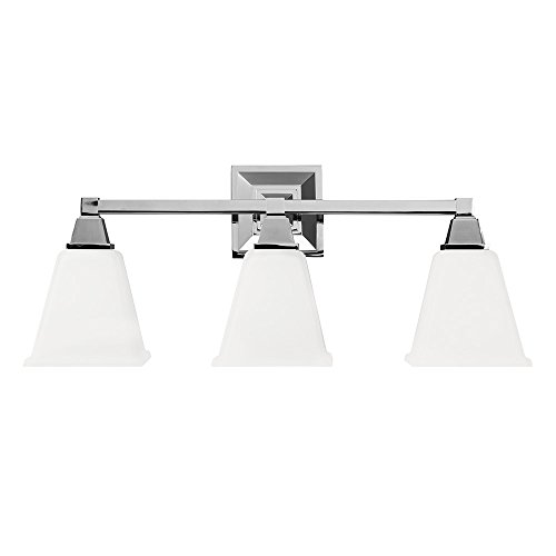 - Sea Gull Lighting 4450403-05 Denhelm Three-Light Bath or Wall Light Fixture with Etched White Inside Glass, Chrome Finish