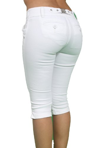 Butt Lift Super Sexy Stretch White Bermuda/Capri By Pasion PJ2-C ...