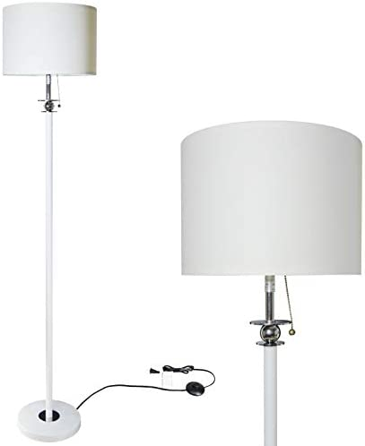 Floor Lamp for Living Room, Modern Standing Lamp with Hanging Drum Shade, Thickened Tall Pole Lamp for Office with Pull Chain and Floor Switch White