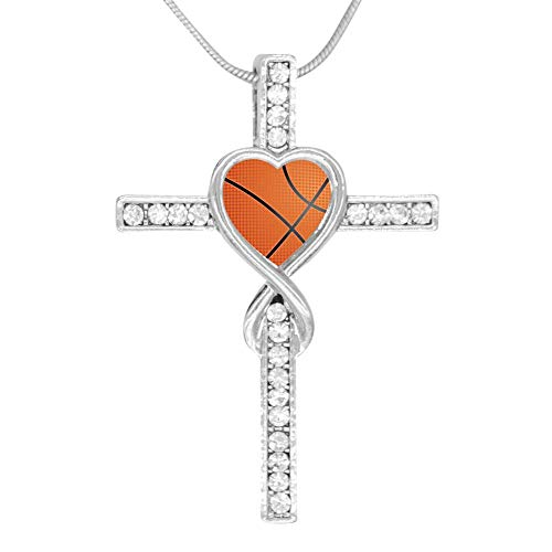 (LUQeo Basketball Cross Love Heart Infinity God Cross Pendant Necklace Birthday Gifts for Her Wife Women)
