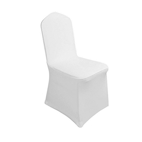 Cover Party - 50pcs Spandex Banquet Wedding Party Chair Covers for Wedding Party White Color