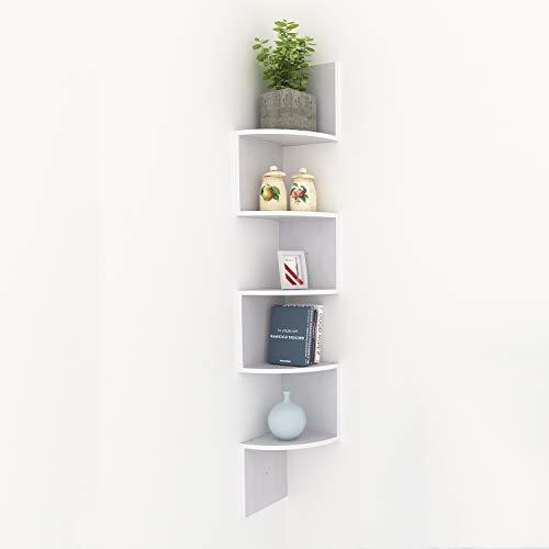 Kemanner 5-Tier Corner Wall Shelf Zig Zag Hanging Wall Floating Shelves for Photo Albums Book Display - Quarter 5 Round Bookcase Shelf