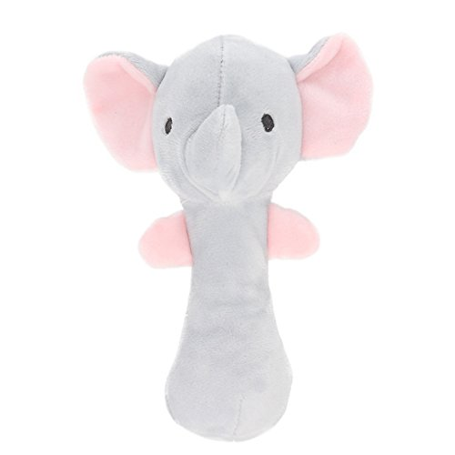 Pink Elephant Rattle - Ohomr Elephant Rattle Baby Toy Soft Plush Hand Rattle Squeaker Sticks Toy for Toddlers Educational Toys