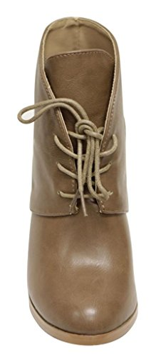 Anna Diane-11 Womens almond toe lace up high top chunky heel PU booties Taupe ZB7Pc