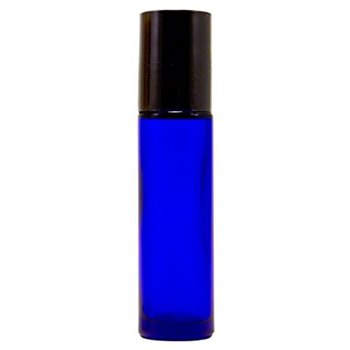 144 Essential Oil, Aromatherapy - Cobalt Blue Glass Bottle with Roll On Applicator and Black Cap - 10 ml - Grand Parfums Package of 144 Bulk Lot Wholesale
