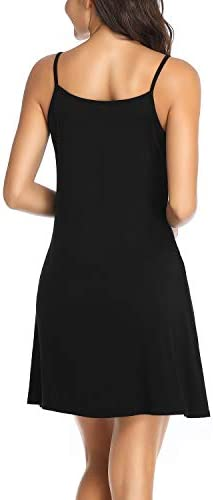 Tempt Me Swimsuit Cover Ups with Pockets Sleeveless Plain Spaghetti Strap Tank Dresses for Women Casual