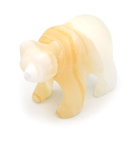 Golden Amber Stone Grizzly Bear Figure, 4.25″ long, Carved from Real North American Aragonite – The Artisan Mined Series by hBAR For Sale