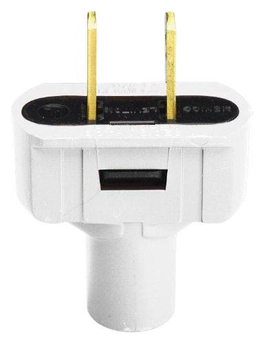 Leviton 48643-W Non-Polarized Short Flat Electrical Plug, 125 V, 15 A, 2 P, 2 W, 1 Pack, White