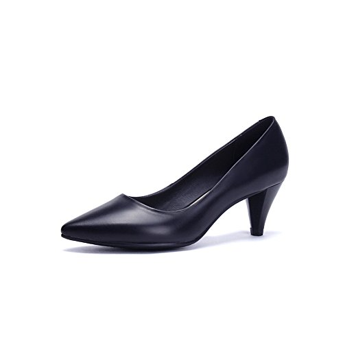 BalaMasa Womens Pointed-Toe Pull-On Imitated Leather Pumps-Shoes Black