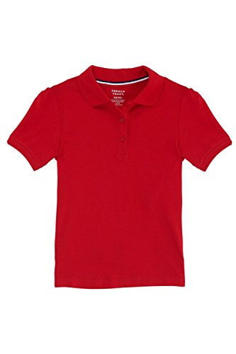 French Toast Little Girls' Short Sleeve Stretch Pique Polo, Red, X-Small/4/5 (Red Shirts Flower)