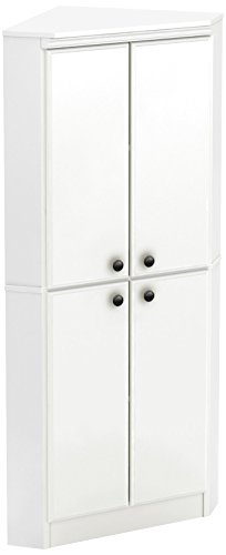 South Shore 10382 4-Door Corner Armoire for Small Space with Adjustable Shelves, Pure White