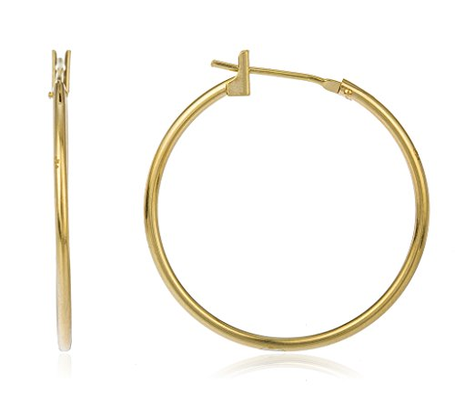 14k Yellow Gold Basic 25mm Click Hoop Earrings -