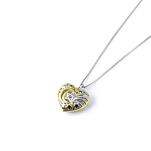 Two tone 925 Sterling Silver Moon and Stars Love Heart Pendant Necklace, 18 inch
