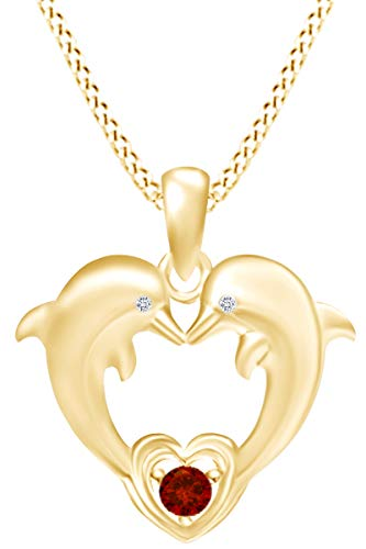 AFFY Round Cut Simulated Garnet & White Cubic Zirconia Two Dolphins Heart Pendant Necklace in 14k Yellow Gold Over Sterling Silver