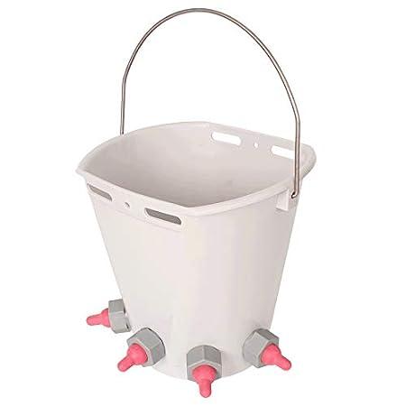 TREPP 8L Lamb Feeding Milk Bucket can be ranged from 1 to 5 Nipples 1 Nipple, Green