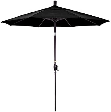 California Umbrella 7.5 Round Aluminum Market Umbrella, Crank Lift, Push Button Tilt, Bronze Pole, Olefin Black