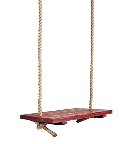 Durable Hanging Rope Tree Swing with Wooden Seat, Painted Distressed Red Finish, Vintage Nostalgic Design, Oversized Design for Children and Adults, 24 L x 15 W Seat, 11'6 Rope