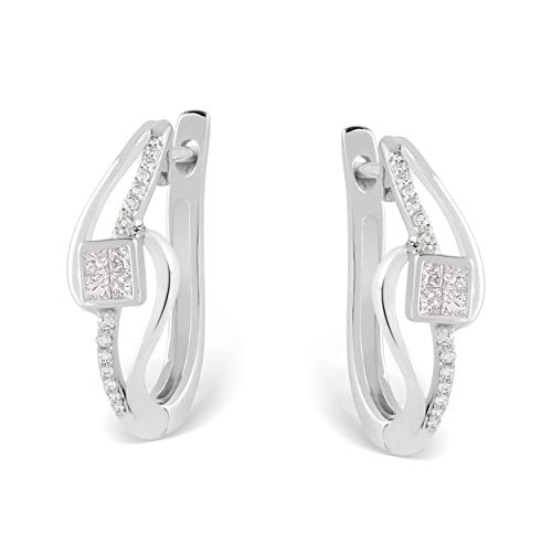 - 10K White Gold 1/4 Carat Round and Princess-Cut (H-I Color, I2 Clarity) Natural Diamond Earrings for Women