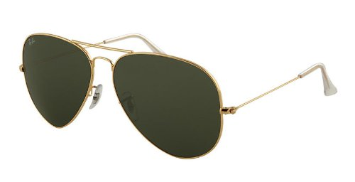 Rayban Sunglasses RB3026 L2846 Aviator Large Metal II Green Solid Lenses Gold - Aviator Rb3026 Ban Ray