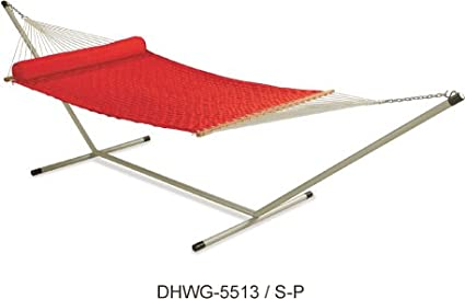 Oak N Oak Comfortable Sleeping Hanging Hammock/Soft Weave Comb Quilted Hammock Swing with Stand/Outdoor Hammock Furniture for Home Patio Garden, Camping, Beach & Leisure Backyard, 55 Extra Large Wide – Red