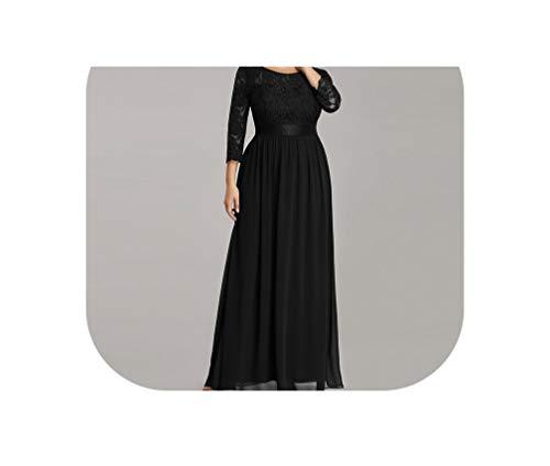 Evening Dresses Long Sleeve A Line Lace Chiffon Wedding Guest Dresse,Black,14,Floor Length