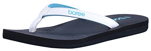 Boree Flip-Flop for Women Yoga Mat EVA Material Summer Beach Slip Resistant Strong Comfort Thong Slide Sandals Size 5 Blue
