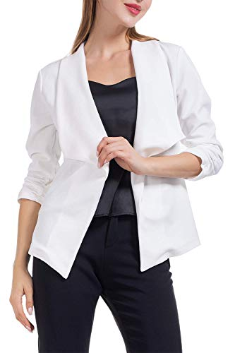 (AUQCO Women Casual Blazer Work Office Business Jacket Open Front Draped Cardigan 3/4 Ruched Sleeve (White, XL))