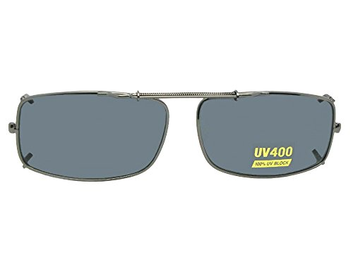 Slim Rectangle NON Polarized Clip On Sunglasses (Pewter-NON Polarized Gray Lens, 56mm Width x 35mm - Clip Non Polarized On Sunglasses