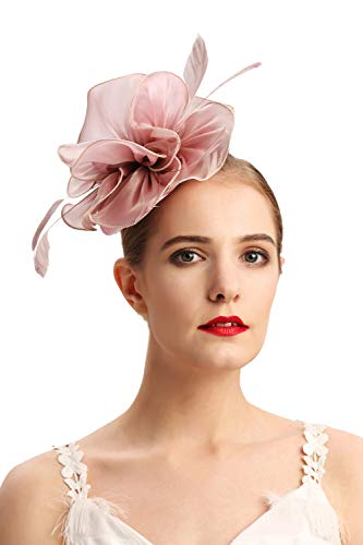 (Czioe Flower Cocktail Tea Party Headwear Feather Fascinators Top Hat for Girls and Women(2-pink2))