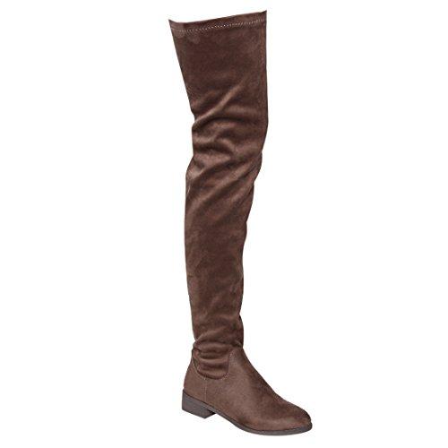 NATURE BREEZE FF05 Damen Stretchy Oberschenkel Hohe Snug Fit Low Block Heel Stiefel Taupe