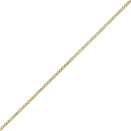 Two 10k Bracelet Gold Tone (LOVEBLING 10K Yellow Gold 2mm Solid Two-Tone Diamond Cut w/White Pave Figaro Chain Bracelet w/Spring Lock (7.5))