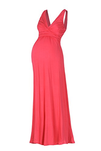 Beachcoco Women's Maternity Sleeveless V Neck Maxi Dress (XL, Coral)