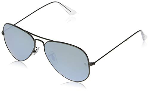 Ray-Ban RB3025 Aviator Flash Mirrored Sunglasses, Matte Gunmetal/Silver Flash, 58 mm (Best Ray Ban Sunglasses For Men)