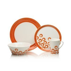 Mikasa Circle - Mikasa Circle Chic 4-Piece Dinnerware Set, Orange