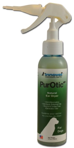 Innovet 4oz PurOtic Ear Dryer for Dogs Only with Silicone Applicator