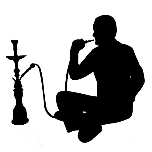 18.2cm16.8cm Hookah Smoking Arabic Cafe Shisha Vinyl Stickers Decals Black/Silver S3-5887