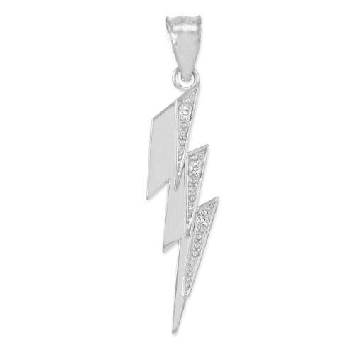 High Polish 925 Sterling Silver CZ-Studded Lightning Bolt Charm Pendant