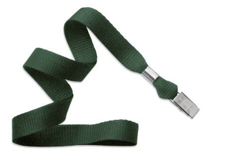 Forest Green Lanyard, flat MicroWeave ribbed poliester, non break-away, Bulldog Clip, 5/8