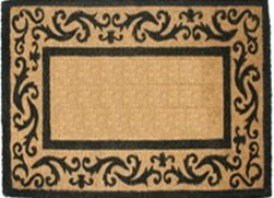 Border Black Rug Scroll - Coco Mats N More Coir Entrance Mat / Doormat ?Black Rolling Scroll Border 22...