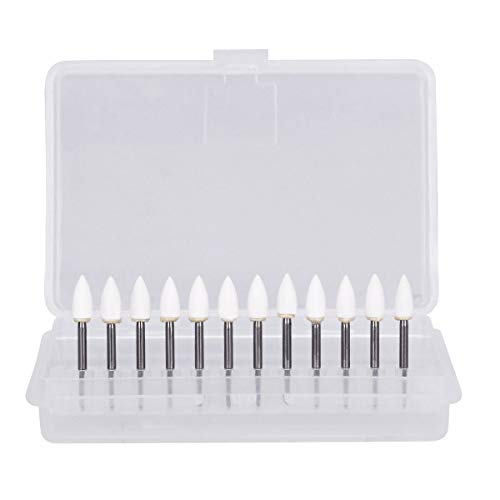 (12PCS/Set Porcelain Resin Polishing Stone Burs, White FG Cone Teeth Whitening Tools)